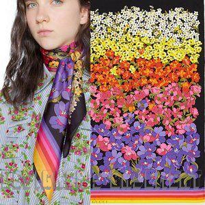 GUCCI rainbow floral DEGRADE Logo silk twill scarf